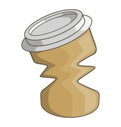 Disposable coffee paper cup icon cartoon style vector