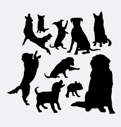 Dog and puppy animal silhouettes vector