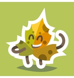 Emoticon icon friendly maple leaf vector