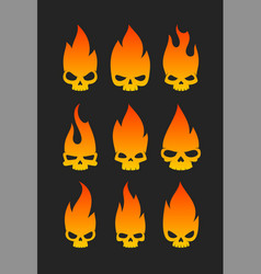 evil skulls icons vector image