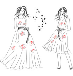 fast hand-drawn sketch with girls in dresses vector image