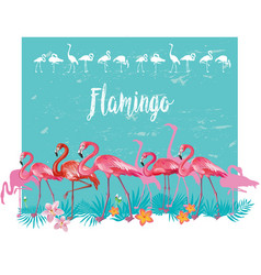Flamingoes and tropical tropical plants vector