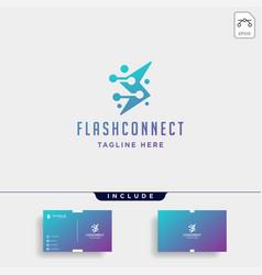 Flash thunder internet logo design power vector