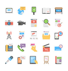 Flat icon design media and advertisement pack vector