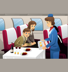 Flight attendant in an airplane vector