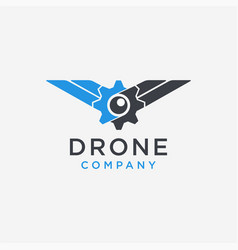 gear eye flying logo abstract drone logo vector image