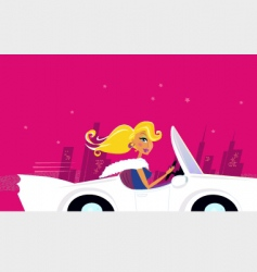 girly chick driver in car vector image