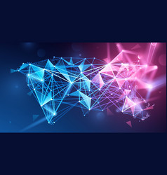 Global network polygonal background vector