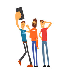 Group of smiling male friends taking selfie photo vector
