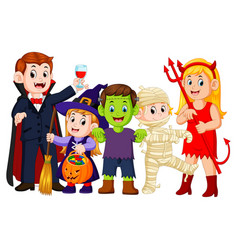 halloween trick or treating in halloween costume vector image