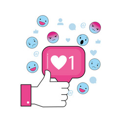 Hand with social chat message and emojis vector