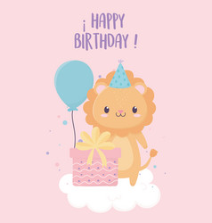 happy birthday lion with party hat gift balloons vector image