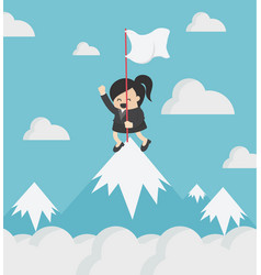 happy business woman holding success flag vector image
