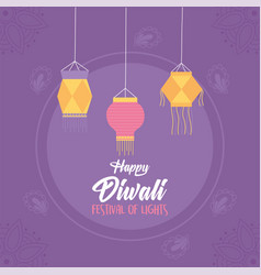 happy diwali purple background hanging lanterns vector image
