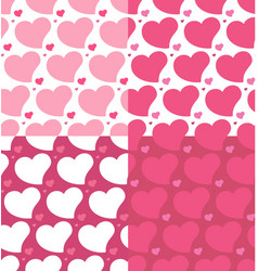 hearts seamless patterns set vector image