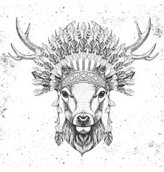 hipster animal deer with indian feather headdress vector image