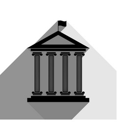 Historical building with flag black icon vector