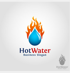 hot water - burning water drop logo vector image