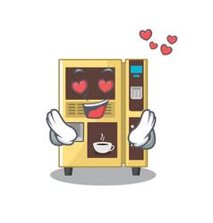 In love coffee vending machine in a karakter vector