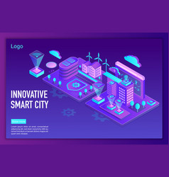 innovative smart city landing page template vector image