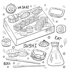 japan sushi elements outline on white background vector image