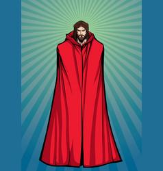 jesus superhero standing tall vector image