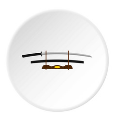 katana on wooden stand icon circle vector image
