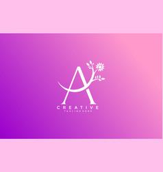 letter a linked fancy logogram flower logotype vector image