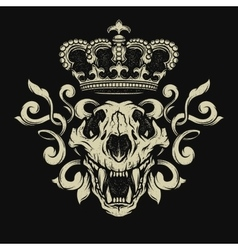 Lion skull Heraldic emblem vector