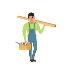 Male professional carpenter in uniform holding vector
