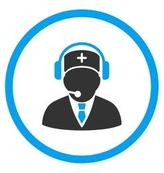 Medical emergency operator rounded icon vector