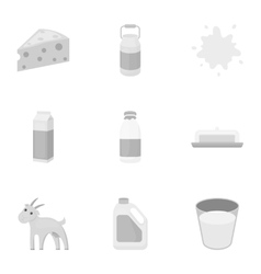 Milk set icons in monochrome style Big collection vector