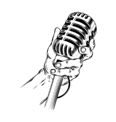 Old microphone in hand made in engraving style vector image