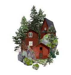 Old traditional scandinavian wooden houses vector