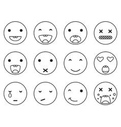 Outline round smile emoji set Emoticon icon vector
