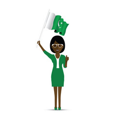 Pakistan flag waving woman vector