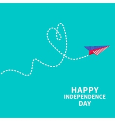 Paper plane with heart dash line happy vector