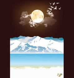 Picturesque arctic landscape at night vector