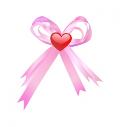 pink bow and red heart vector image