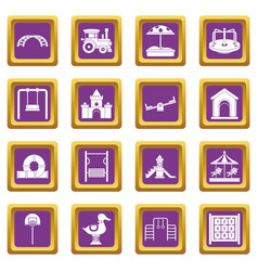 Playground icons set purple vector