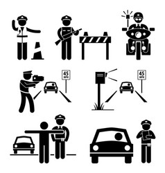Police officer traffic on duty stick figure vector