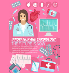 Poster for heart cardiology medicine vector