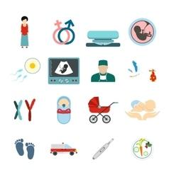 Pregnancy flat icons set vector