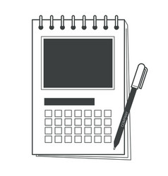 printed calendar and pen organizer and writing vector image