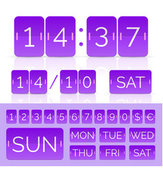 purple flat countdown timer with flip vector image