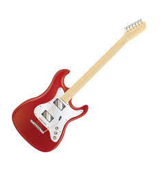 real red electric guitar on a white background vector image