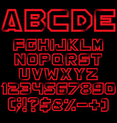 red alphabet numbers and signs isolated objects vector image