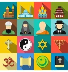 Religion flat icons set vector