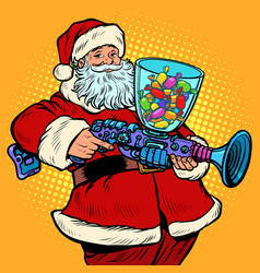 santa claus candy machine christmas and new year vector image