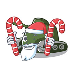 Santa with candy tank mascot cartoon style vector
